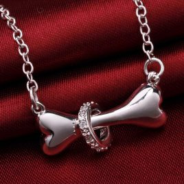 Dog Bone Silver Pendant Necklace