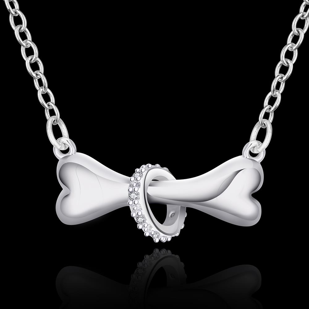 Dog bone silver pendant necklace ipetstuff aloadofball Images
