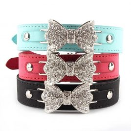 Leather Dog Collar with Bling Crystal Bow – 3 Colors Available